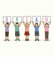 children with dream board graphic vector image vector image