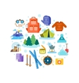 Circle composition of winter hiking flat icons vector image vector image