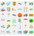 city pointer icons set cartoon style vector image vector image