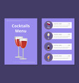 cocktails menu cover design with list of drinks vector image vector image