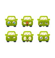 collection of cute green car cartoon characters vector image vector image