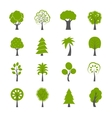 Collection of natural green trees icons set vector image vector image