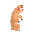 cute cartoon happy and smiling sloth character vector image vector image