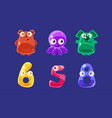 cute jelly creatures and numbers set glossy vector image vector image