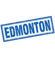 Edmonton blue square grunge stamp on white vector image vector image