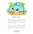 freelance web poster with text man lying hammock vector image vector image