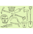 gardening tools - doodle style vector image vector image