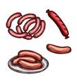 grilled meat sausage and frankfurter sketch vector image vector image