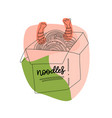 hand drawn chinese food box noodle with shrimps vector image vector image