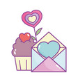 happy valentines day mail card and cupcake hearts vector image