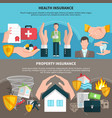 health and property insurance banners vector image vector image