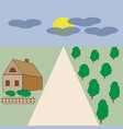 house of green trees sky sun landscape vector image
