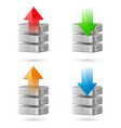 icon set of computer database with upload and vector image