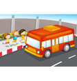 Kids and bus vector image vector image