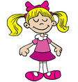 little girl in pink dress cartoon vector image vector image