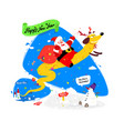 lovely santa claus on a yellow dog chinese new vector image