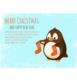 merry christmas and happy new year penguin cartoon vector image