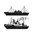 motor ship silhouette set vector image vector image