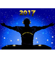 New Years 2017 DJ silhouette and record decks vector image vector image