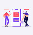 online shopping concept with male and female vector image