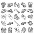 police-2 set icon doodle hand drawn or outline vector image vector image