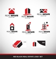 Red black real estate logo icon set vector image