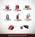 Red black real estate logo icon set vector image vector image
