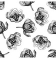 seamless pattern with black and white tulip vector image