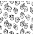 Seamless pattern with muffins and cupcakes vector image vector image