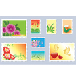 set of floral postage stamps vector image vector image
