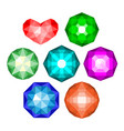 set of multi-colored classic round brilliant cut vector image