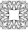 square frame with hand drawn leaves black and vector image vector image
