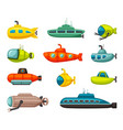 submarines and bathyscaphes set red vehicle vector image vector image