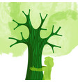 tree hug children nature love concept vector image vector image
