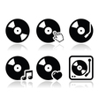 Vinyl record dj icons set vector image