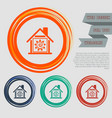 warm home icon on the red blue green orange vector image vector image