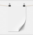 white empty sheet paper with shadow on rope vector image vector image