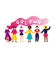 women holding hands with girl power concept vector image