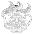 Zentangle stylized ornamental teapot with steam vector image vector image