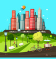 abstract city flat design town with skyscrapers vector image