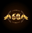 60 years anniversary celebration logotype golden vector image vector image