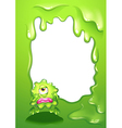 A green monster in a green border design vector image vector image