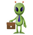 alien with suitcase on white background vector image vector image
