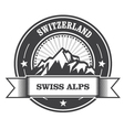 Alps Mountains stamp - Switzerland label vector image