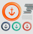 anchor icon on red blue green orange buttons vector image vector image