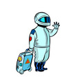astronaut traveler with a travel suitcase vector image