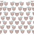 bears grizzly with feathers hat pattern background vector image