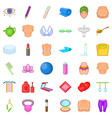 beauty icons set cartoon style vector image vector image