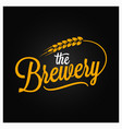 beer vintage lettering brewery logo with wheat on vector image vector image