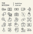 bitcoin line icon set cryptocurrency symbols vector image vector image